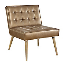 Amity Metallic Faux Leather Tufted Chair, CH52016