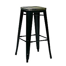 "Bristow Distressed Metal Barstool with Wood Seat - 26""H, CH51337"