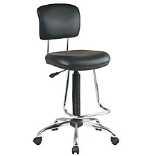 Black Vinyl Stool with Teardrop Footrest, CH04858