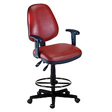 Antimicrobial Vinyl Drafting Stool with Adjustable Arms, CH03538
