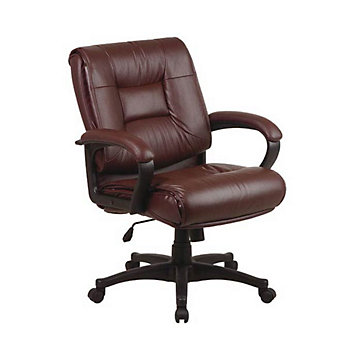Work Smart Tufted Leather Desk Chair CH at