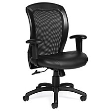 Atwater Mesh Back Bonded Leather Seat Task Chair with Adjustable Arms, CH51113