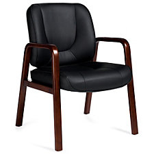 Chambers Bonded Leather Guest Chair with Wood Accents, CH51122
