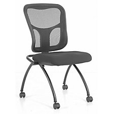 Flip Armless Mesh Back Fabric Seat Nesting Chair, CH50940