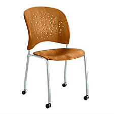 Reve Plastic Wood Guest Chair with Casters, CH50846