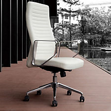 Modrest Ridged Faux Leather High Back Computer Chair, CH51779