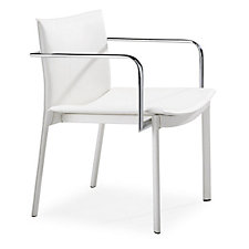 White Guest Chair with Chrome Armrests, CH04641