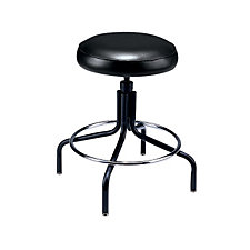 Backless Black Vinyl Stool, CH02130