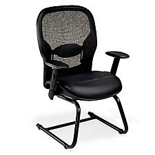 Space Guest Chair with Bonded Leather Seat and Mesh Back, CH51217