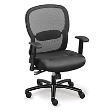Linear Mesh Back Big and Tall Chair with Memory Foam Faux Leather Seat, CH50900