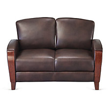 Faux Leather Wood Trim Loveseat, CH51187