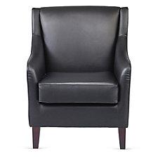 Faux Leather Wood Feet Club Chair, CH51181