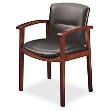 Wood Frame Leather Guest Chair with Arms, CH03130