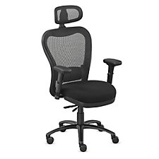 24/7 Big and Tall Fabric Seat Mesh Chair with Memory Foam and Headrest, CH50876