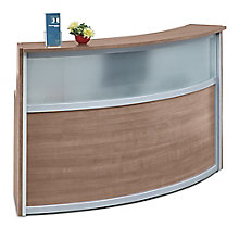 "Laminate Curved Reception Desk with Glass Panel - 72""W x 30""D, 8804960"