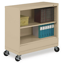 "Two Shelf Mobile Steel Bookcase - 37""H, TES-BC18-30M"