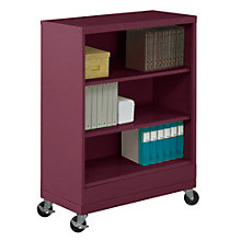 "Three Shelf Mobile Steel Bookcase - 49""H, TES-BC18-42M"