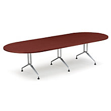 "Racetrack Conference Table with Sculpted Steel Base - 120"" x 48"", GLO-GRT10WS"