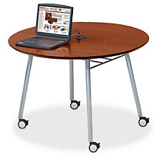 "Mystic 48"" Round Table with Casters and Data Port, LES-S1948Q4P"