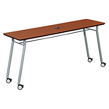 "Mystic Utility Table with Casters and Data Port - 72"" x 20"", LES-S1172Q4P"