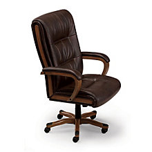 Set of Six Wood Trimmed Big and Tall Leather Executive Chair, OFG-CS0006