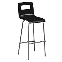 Wood Cafe Stool with Chrome Frame, ERC-E16950
