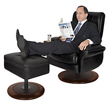 Executive Recliner and Ottoman in Leather, TRU-10273