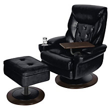 Tufted Recliner and Ottoman in Leather, TRU-10272