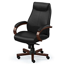 Venture High Back Leather Executive Chair with Wood Trim, BOC-OVER75WS