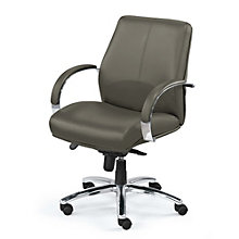 Venture Leather Desk Chair with Chrome Trim, BOC-OVER65CS