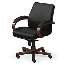 Venture Leather Desk Chair with Wood Trim, BOC-OVER65W