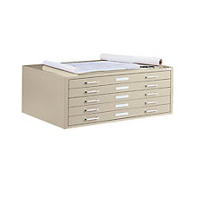 "Steel Five Drawer 41"" Wide Flat File Cabinet, 8804044"