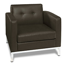 Wall Street Modern Guest Chair in Faux Leather, AVN-210024