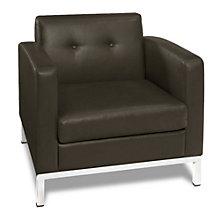 Wall Street Modern Guest Chair in Faux Leather, AVN-210024