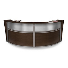 "Marque Curved Double Reception Station with Plexi - 124.25""W x 49""D, OFM-55312"
