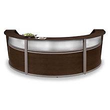 "Marque Curved Three Piece Reception Station with Plexi - 142""W x 71""D, OFM-55313"
