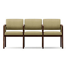 Lenox Panel Arm Three Seat Vinyl Loveseat with Center Arms, LES-L3133G6V