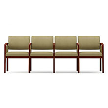Lenox Panel Arm Four Seat Vinyl Sofa with Center Arms, LES-L4133G6V