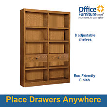 """Midas Ten Shelf Double Bookcase with Drawers - 72""""H, 8802178"""