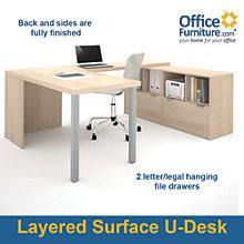 "i3 Solid U-Shaped Desk With File Storage - 88.5""W, 8802203"
