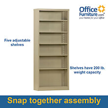 "Snap It Six Shelf Steel Bookcase - 84""H , 8802330"