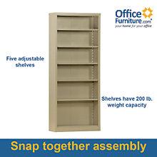 """Snap It Six Shelf Steel Bookcase - 84""""H , 8802330"""