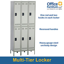 "Double-Tier Three Column Locker - 78""H x 36""W, 8802507"