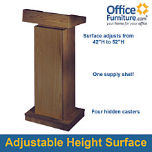 "Adjustable Height Lectern - 42""H - 52""H, 8802805"