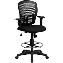 Alford Plastic Black Drafting Stool with Fabric Seat, 8803010