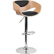 Hobbs Modern Breakroom Stool in Curved Wood and Vinyl, 8803025
