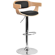 Hobbs Curved Breakroom Stool in Wood and Vinyl, 8803027