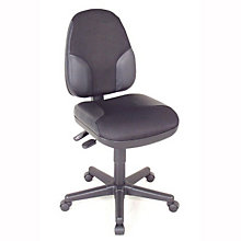 Armless Leather Trimmed Ergonomic Task Chair, ALV-CH555-95