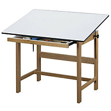 "Titan Solid Oak Drafting Table - 60"" x 38"", ALV-WTB60"