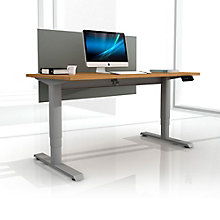 "EZ Lift Height Adjustable Desk with Privacy Screen - 72""W, 8804144"